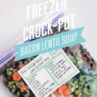 Freezer to Crock-Pot Bacon Lentil Soup.