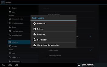 Photo: Here we've enabled the setting to show a statusbar toggle in the Power menu