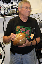 Photo: Jim is donating this walnut, cherry, and maple lidded bowl to our Beads of Courage Program.