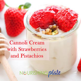 Cannoli Cream with Strawberries and Pistachios.