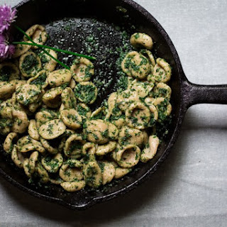 Rye Orecchiette with Stinging Nettle, Sheep's Milk Feta, and Chive Blossoms