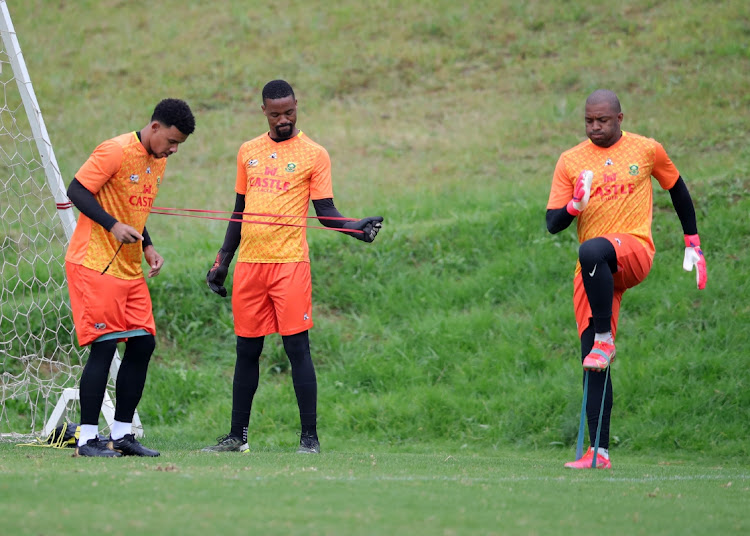 Ronwen Williams, Veli Mothwa and Itumeleng Khune of South Africa during the D2021 Afcon Qualifier South Africa training session at Discovery Soccer Park, Pretoria, on 22 March 2021 .