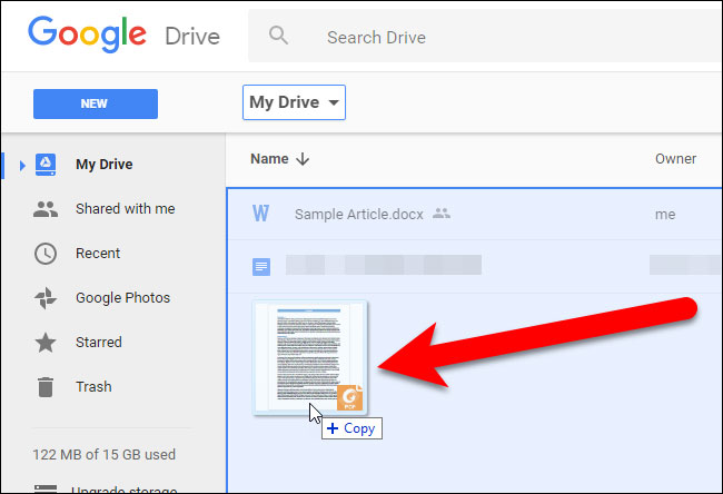 Step 1 Drag PDF to Google Drive