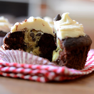 Chocolate filled Cookie Dough Cupcakes
