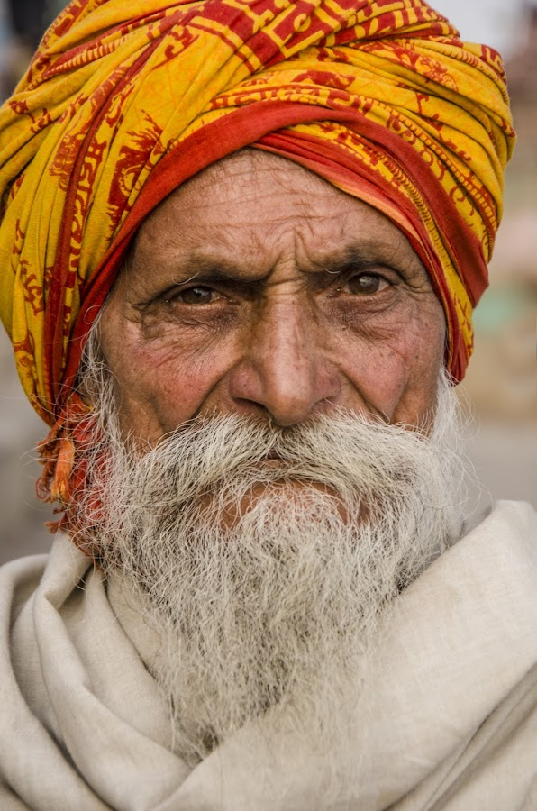 Thoughtful  by Tamal Das - People Portraits of Men ( turban, bearded, thought, benaras, portrait, aged,  )