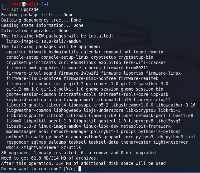Update Kali Linux - Upgrade Kali Linux non-system packages. Source: nudesystems.com