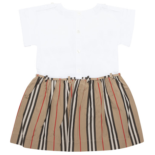 Thumbnail images of Burberry Baby Striped Cotton Dress