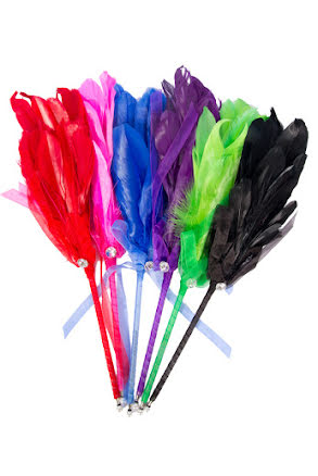 Fjäderpenna, grön/lila/svart