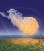 "Photo: The Tunguska Air Blast A century ago, on June 30, 1908, an asteroid or comet hurtled into Earth's atmosphere and exploded over Siberia, flattening 2,000 square kilometers of forest. This is simply the latest incident where bodies from outer space (in this case probably a small comet) have impacted life on Earth. There have been five major recorded episodes- from both internal (supermassive vulcanism and climatic upheaval) and external (asteroid impacts and gamma ray blasts) that have caused mass  extinctions (up to 90% of Earths entire biota during the Permian-Tertiary ""Great Dying""). The first struggles for life to establish may have begun as early as a few million years after Earth solidified into a planet 4.5 billion years ago with repeated extinctions happening during the Pre-Cambrian- so no fossil evidence is preserved. http://www.planetary.org/programs/projects/targetearth/tunguska.html Illustration: Don Davis http://www.donaldedavis.com"