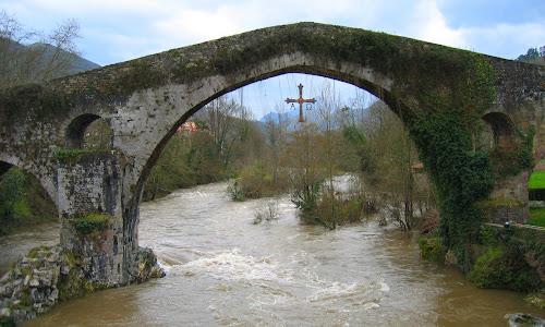 Cross over the River by DJ Cockburn - Buildings & Architecture Bridges & Suspended Structures ( crucifix, rio sella, picos de europa, asturias, bridge, cangas de onís, spain, cross, river,  )
