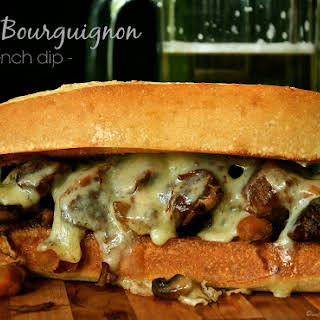 Slow Cooker Beef Bourguignon French Dip Sandwiches.