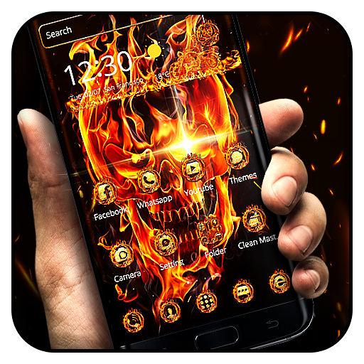 Fire Skull Theme file APK for Gaming PC/PS3/PS4 Smart TV
