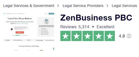 zenbusiness review - zenbusiness trust pilot rating
