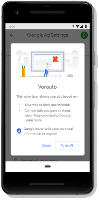 Mobile screen showing Google's turn off ad functionality