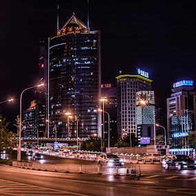 Beijing Bright Night by Pilar Gonzalez - Buildings & Architecture Other Exteriors ( neon lights, bright night, cityscape, beijing, china,  )