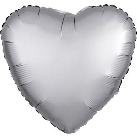 Folieballong Satinhjärta platina, 43 cm