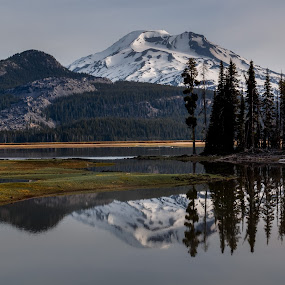 South Sister Reflection in Sparks Lake by Sandra Woods - Landscapes Mountains & Hills ( oregon, focus stack, hdr, south sister, sparks lake, lake,  )