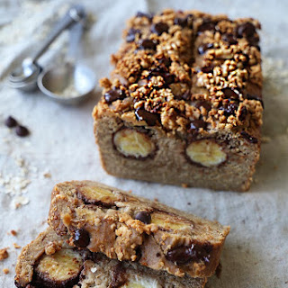 Chocolate Banana Bread With Peanut Butter Crumbles.
