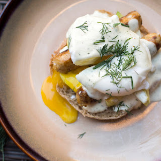 Chicken Sausage Eggs Benedict.