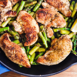 One Pan Lemon Garlic Chicken and Asparagus.