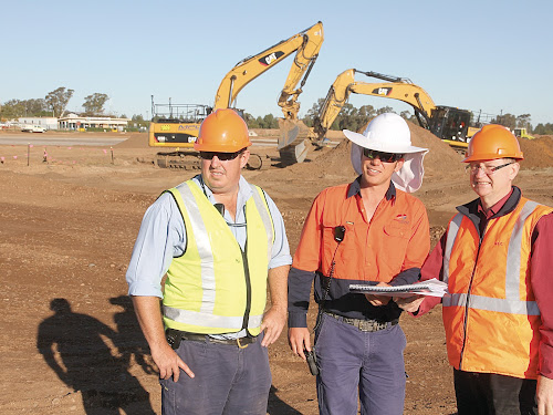 Narrabri airport manager Scott McFarland, left, Proterra project manager and superintendent's representative  Stephen Jukes and Narrabri shire engineer and project superintendent Andre Kompler on site yesterday.