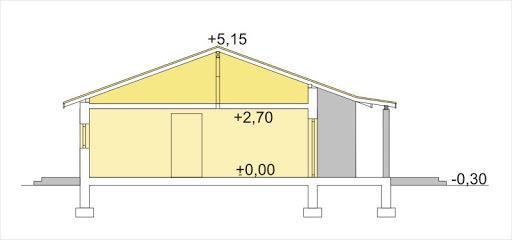 Antek wersja B z pojedynczym garażem paliwo stałe - Przekrój