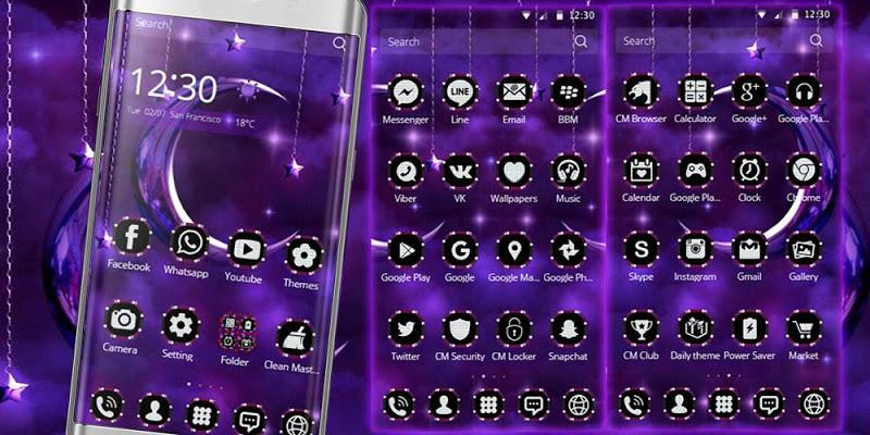 Moon Night Theme Purple moon - screenshot