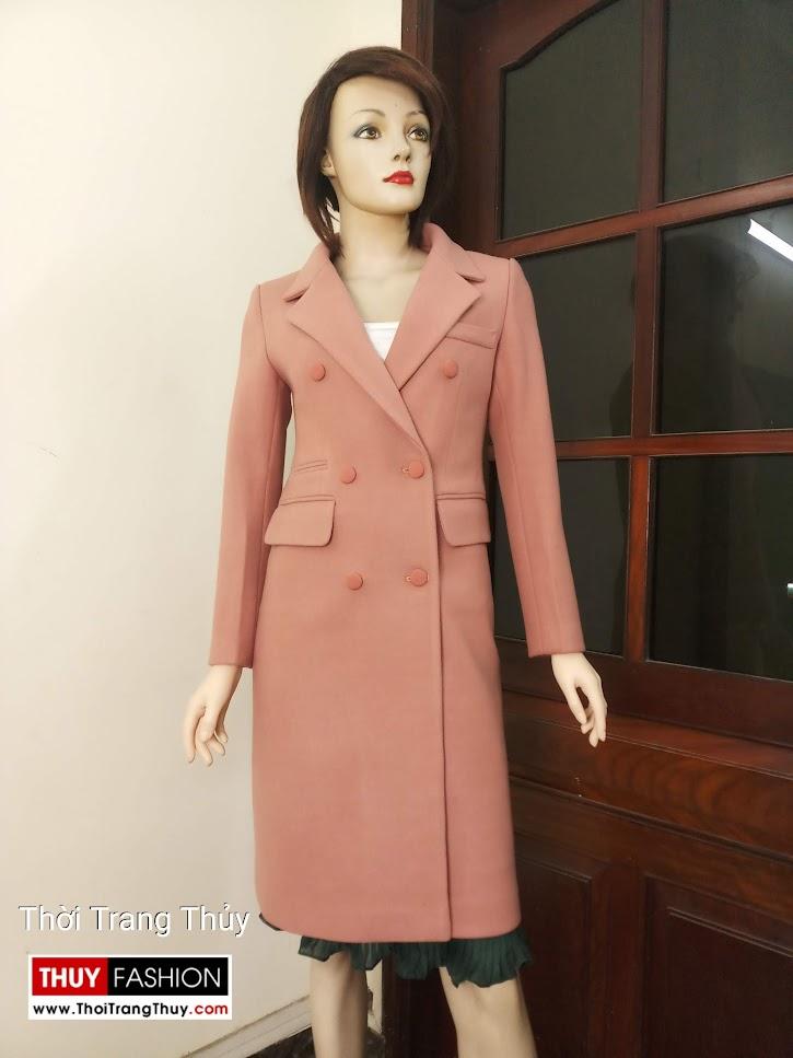 áo khoác dạ dáng dài qua gối V663 thời trang thủy hải phòng