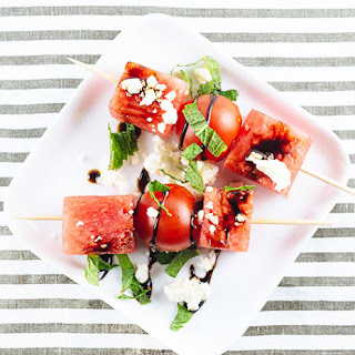 Watermelon and Cherry Tomato Skewers.
