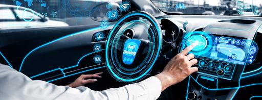 Self-drive autonomous car with man at driver seat-Biancobluebay