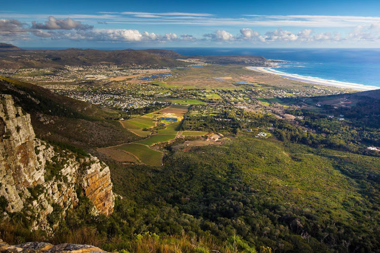 View of Noordhoek Beach form Silvermine Nature Reserve, Cape Peninsula, South Africa.