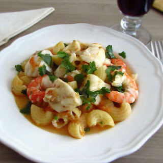 Pasta With Monkfish And Shrimp.
