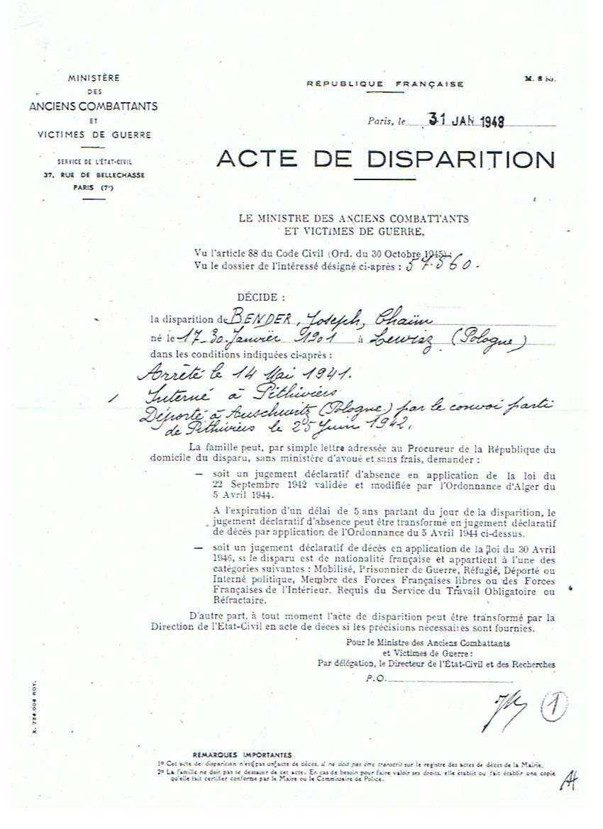 Photo: Acte de disparition remis après la guerre au sujet de mon oncle Haïm Josek Bender mort à Auschwitz en 1942