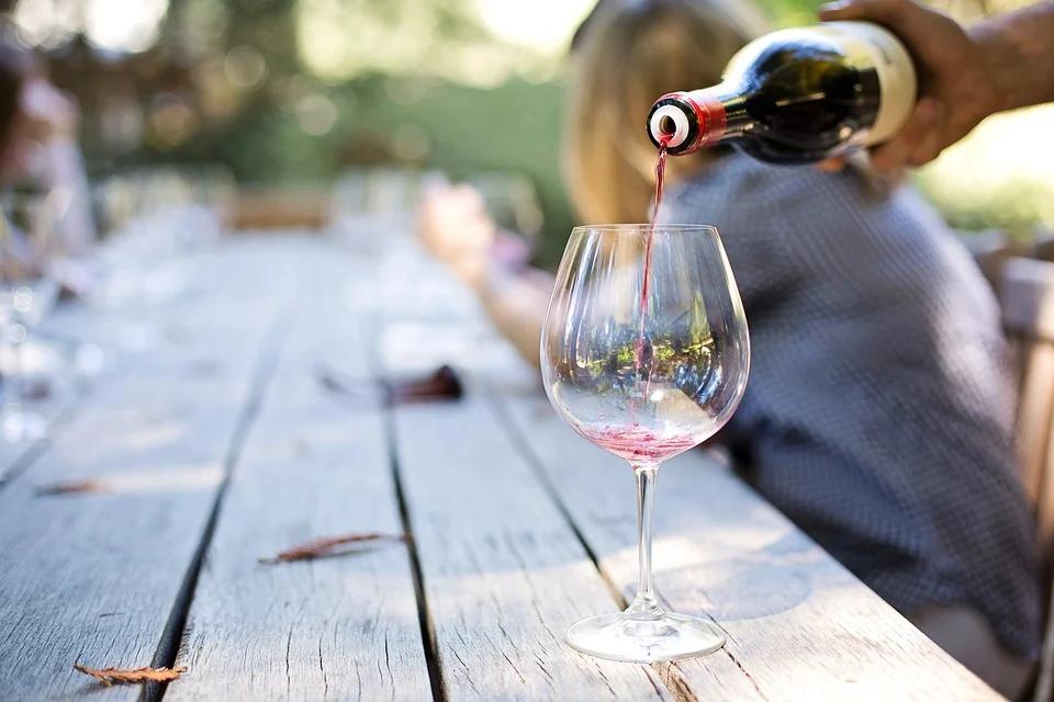 Taça de vinho durante viagem de enoturismo