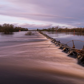 The ruined walk by F Kelly - Landscapes Waterscapes ( ireland, weir, shannon, offaly, river )
