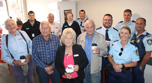 At One23 Cafe and Restaurant yesterday for the Coffee With a Cop initiative were, back, plain clothes Senior Constable Trevor Robinson, Detective Senior Constable Jason Dickinson, Senior Constable Ajarna Imrie, Constable John Stuart (Bellata), front, local residents Ken Thomson, Boyce Alexander, Narrabri Shire Mayor Cathy Redding and Darcy Harris, Inspector Robert Dunn, Sergeant Daniel Cooper, Constable Tania Willis and Leading Senior Constable Lee Rigelsford (Boggabri).