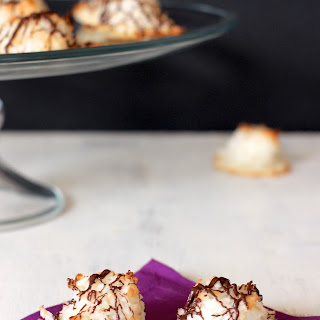 Chocolate Drizzled Coconut Macaroons (Gluten Free).