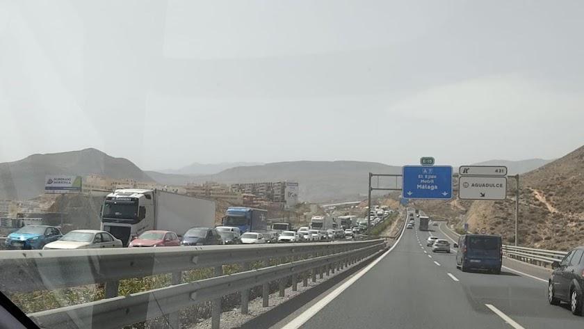 Atasco esta tarde en la A-7 en sentido Almería.