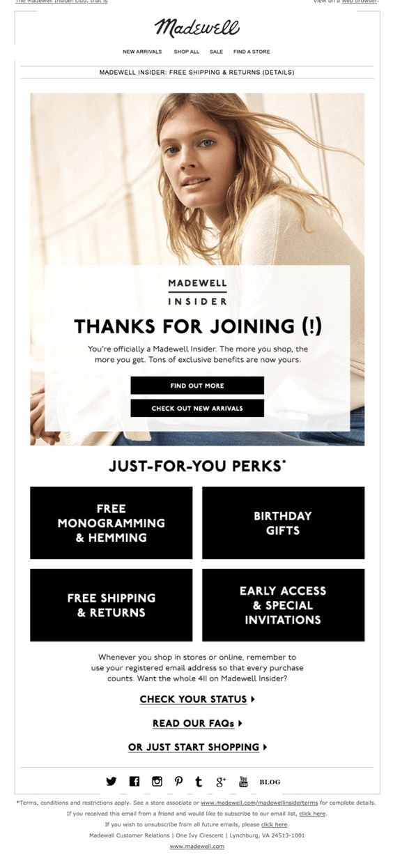 Madewell welcome email