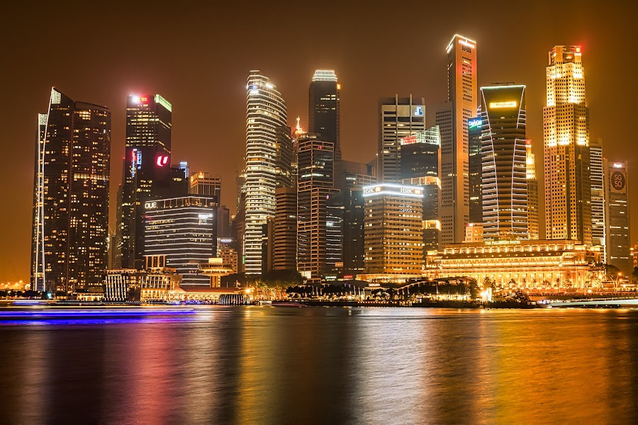 Singapore by Night by Keith Walmsley - Buildings & Architecture Office Buildings & Hotels ( lights, water, reflection, offices, buildings, cityscape, landscape, singapore, hotels )