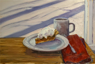 "Photo: Pecan Slice with Birch Shadows, 11x15"" oil on paper, $300"