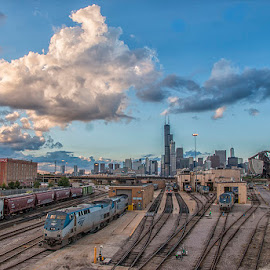Big Puffy Clouds on Tracks by Sue Matsunaga - Transportation Railway Tracks