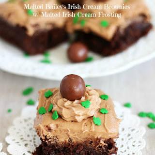 Malted Bailey's Irish Cream Brownies with Chocolate Irish Cream Frosting.
