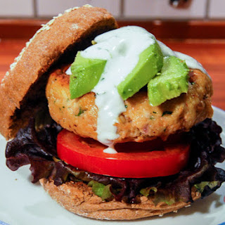Chipotle Salmon Burger With Cilantro Lime Sauce.