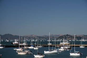 Photo: Lots of boats in the bay, getting ready for a show. Despite all my planning, I didn't know this weekend was Fleet Week until the evening before!