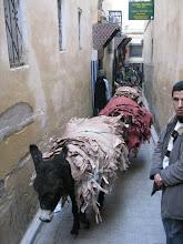 Photo: skóry z garbarni w Fezie