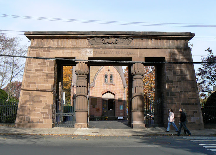 The Egyptian Revival gate to the Grove Street Cemetery. Photo: Dave Pelland.