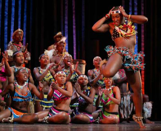 Umoja the spirit of togetherness in Johannesburg civic theatre doing what they do best. Pic: Simphiwe Mbokazi. 13/7/05. © Sunday Times.