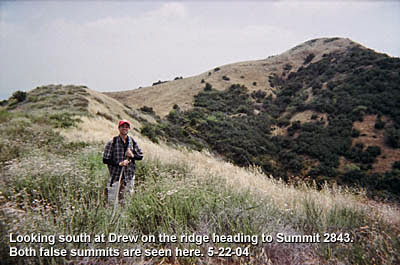 Photo: View south toward Summit 2843 - May 22, 2004