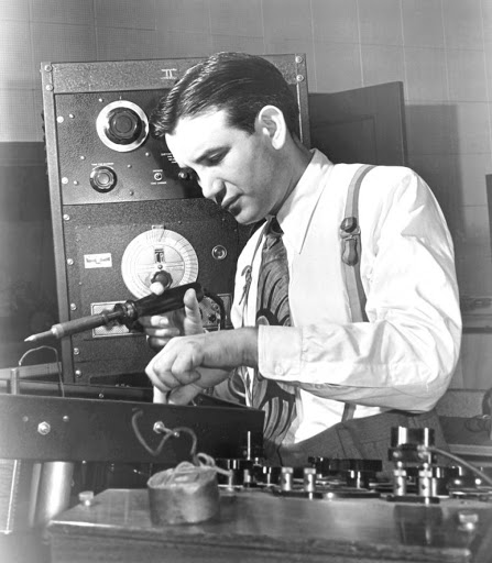 Raymond Scott at Work Soldering in this 1938 Publicity Photo